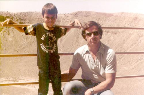 Paul Nowk and son Jason at Meteor Crater 1981